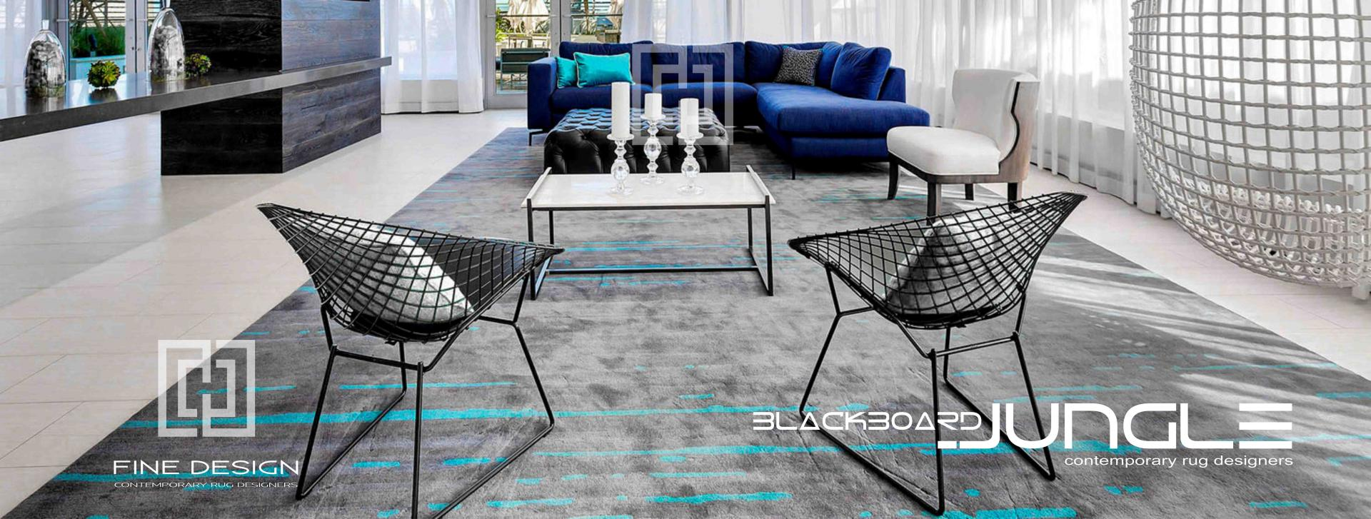 Modern_executive_apartment_Grey_and_turquoise_rug