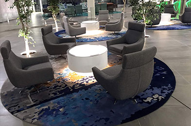 Round rugs....Corporate reception area